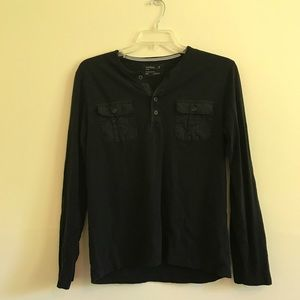 Men's Express Henley Black Long Sleeve Shirt
